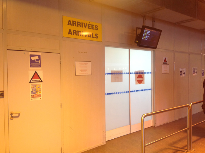 Beauvais airport exit from the luggage claim area in Terminal 1
