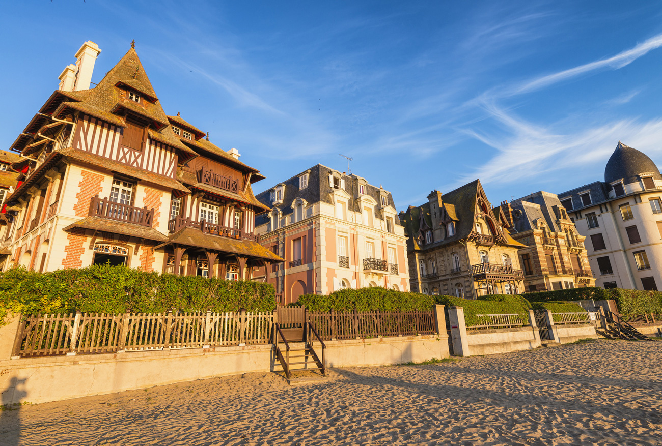 Deauville beach Normandy at sunset