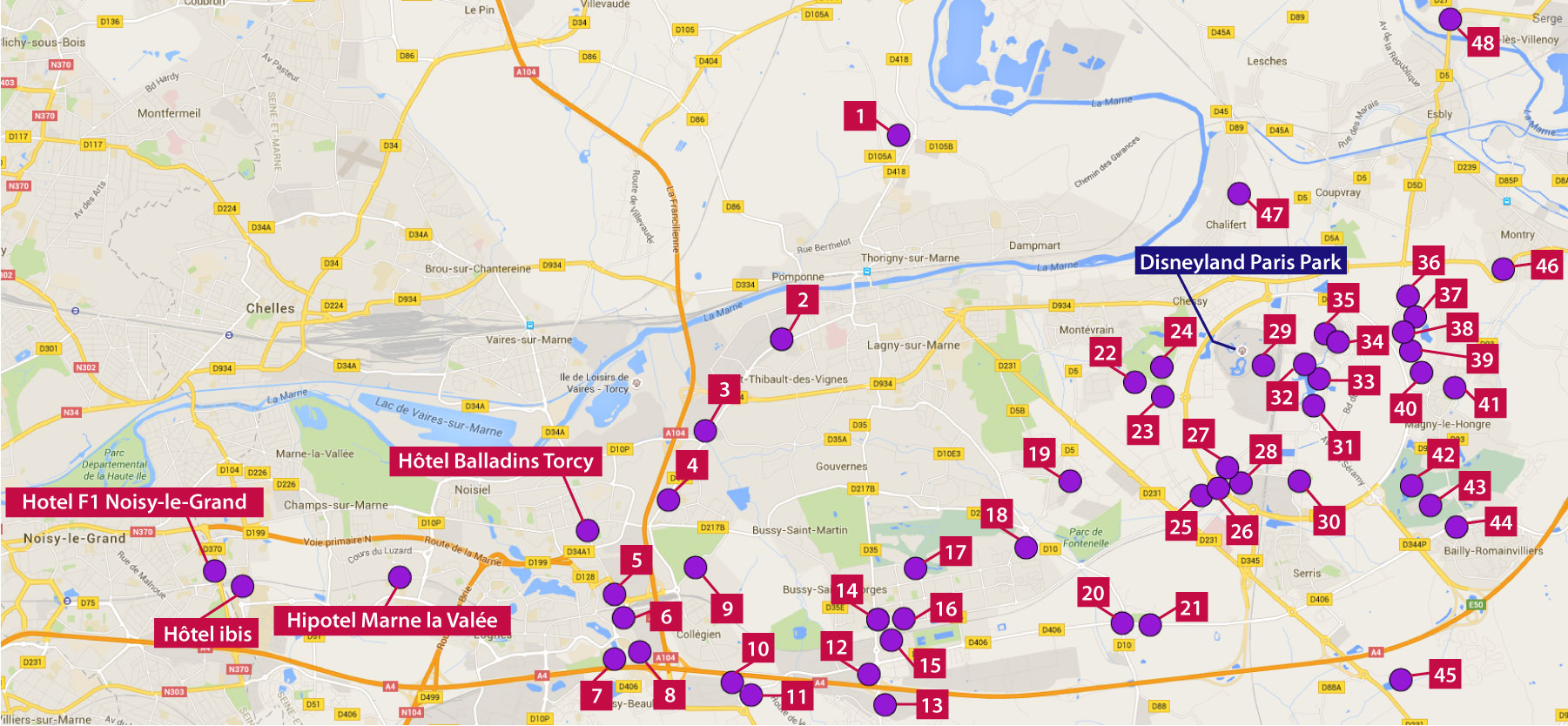 A map of Paris Disneyland hotels that we serve for one price